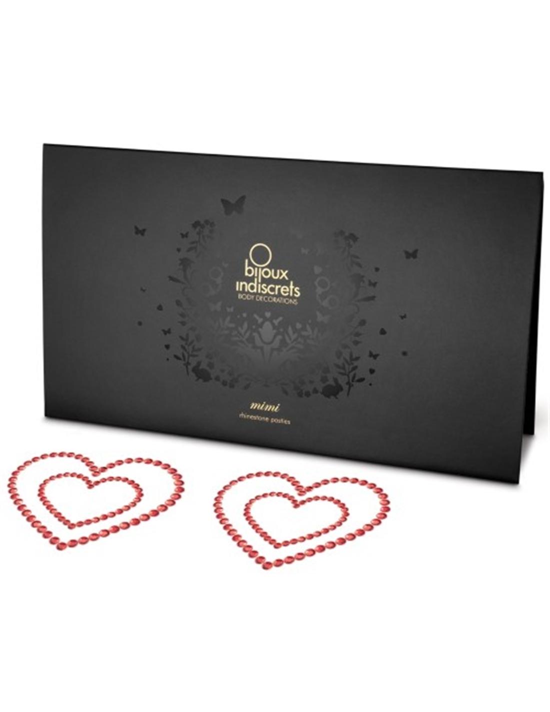 Tapa Mamilos Mimi Heart Bijoux Indiscrets Vermelhos - PR2010324325