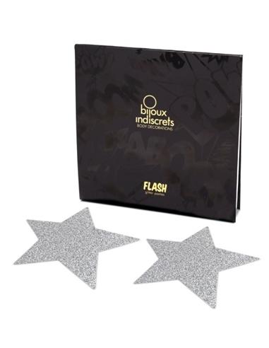 Tapa Mamilos Flash Glitter Star Bijoux Indiscrets Prateados - PR2010324330
