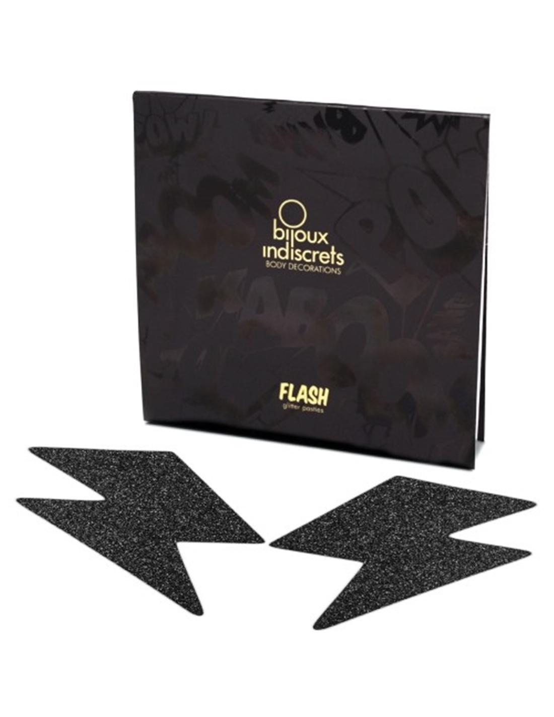 Tapa Mamilos Flash Glitter Bolt Bijoux Indiscrets Pretos - PR2010324331