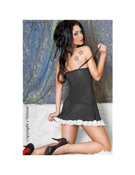 Camisa De Noite E Tanga Cr-3170 Preta Com Bolinh - 36-38 S/M - PR2010318485
